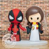 Deadpool and Harry Potter Gryffindor Wedding Cake Topper | Marvel X-Men x HP | Jessichu Creations