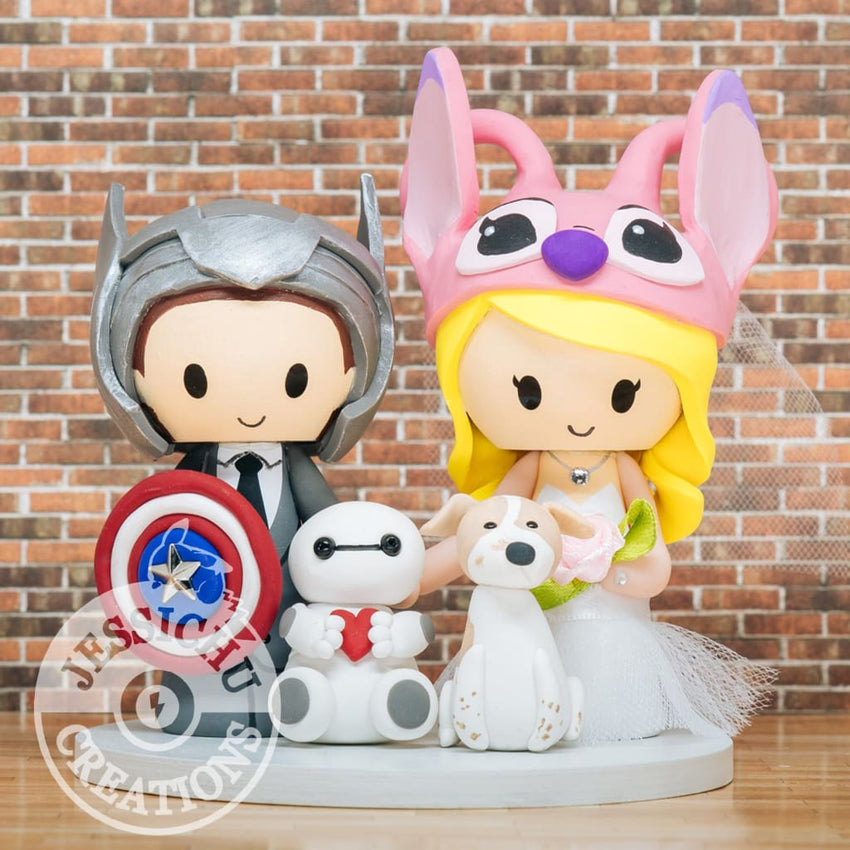 Thor Groom with Captain America Shield & Angel Bride Wedding Cake Topper | Marvel x Disney x Lilo & Stitch x Baymax | Jessichu Creations
