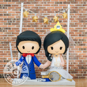 Prince & Princess Custom Handmade Wedding Cake Topper Figurines | Jessichu Creations