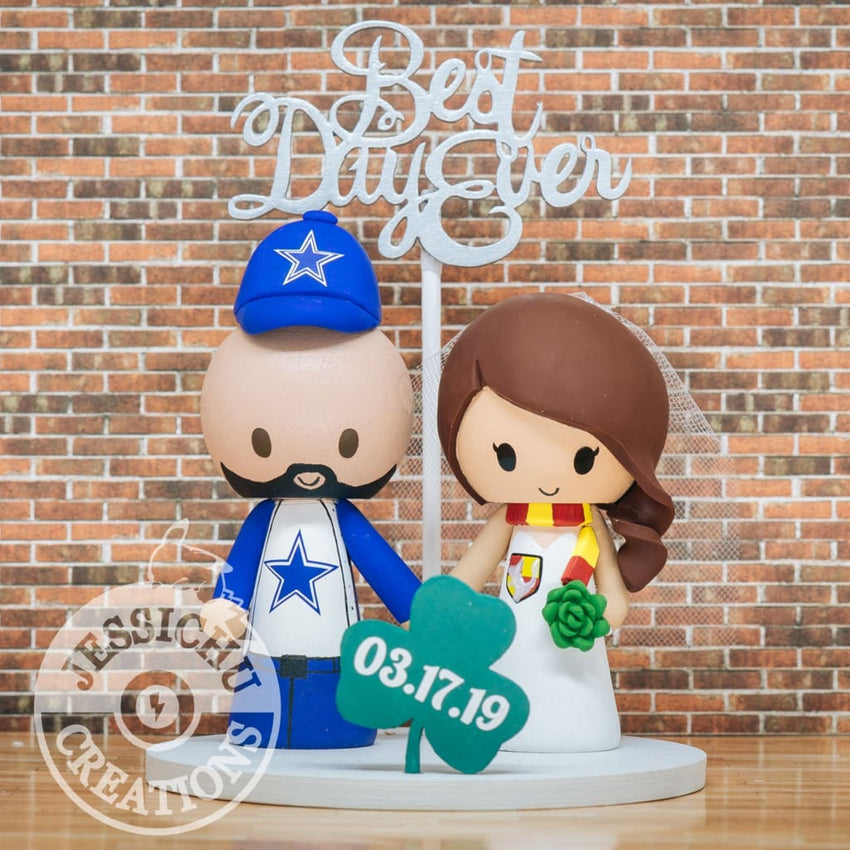 Dallas Cowboy Groom & Gryffindor Harry Potter Saint Patricks Inspired Custom Handmade Wedding Cake Topper Figurines | NFL x HP | Jessichu Creations