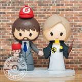 Mario & Hufflepuff Harry Potter Wedding Cake Topper | Nintendo x HP | Jessichu Creations