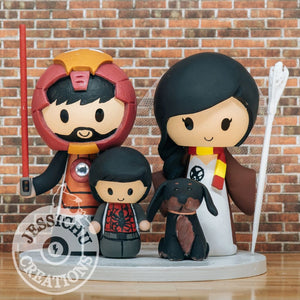 Ironman Groom & Geeky Bride with Spiderman Kid & Dachshund Dog Wedding Cake Topper | Marvel x Star Wars x HP x Hunger Games x LoTR | Jessichu Creations