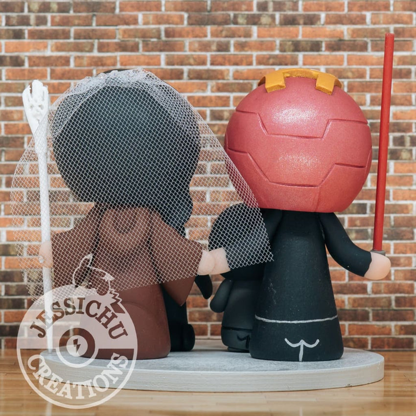 Ironman Groom & Geeky Bride Inspired Marvel x Star Wars x HP x Hunger Games x LOTR Custom Made Figurine Wedding Cake Topper Cake Topper
