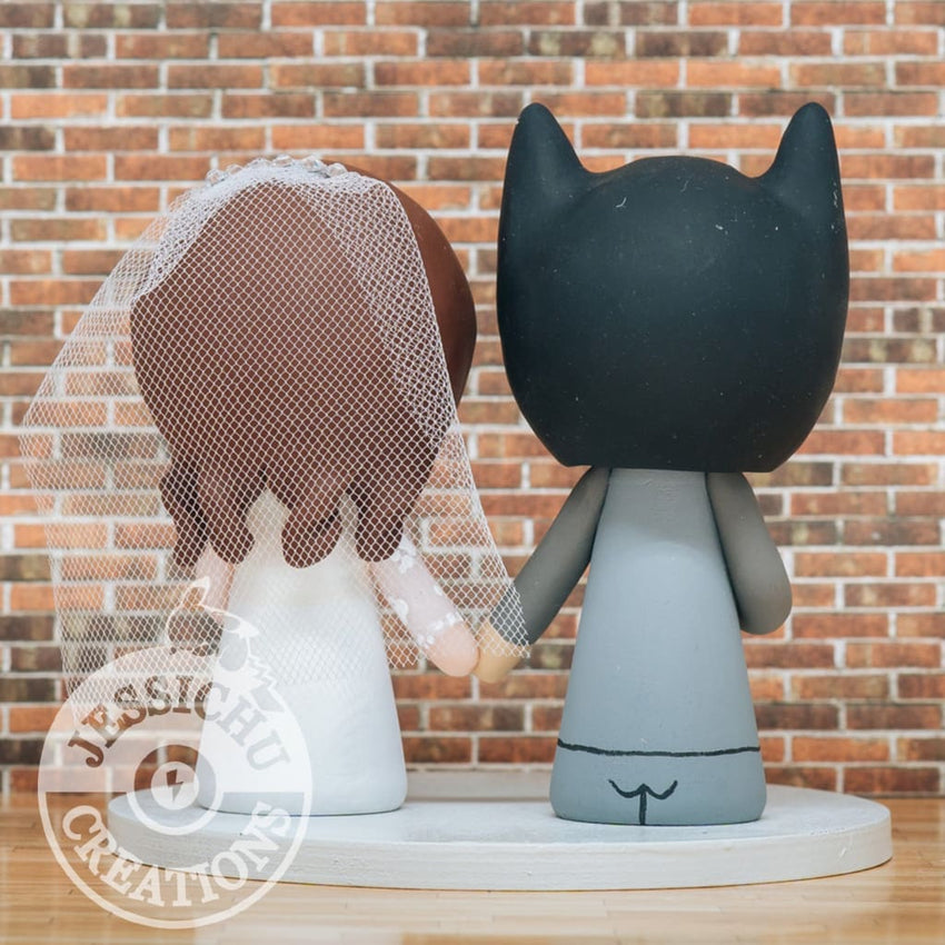 Batman Groom & Pretty Bride - DC Inspired Wedding Cake Topper | Wedding Cake Toppers | Cake Topper Gallery | Jessichu Creations