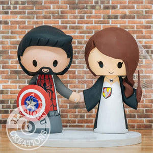 Spiderman and Gryffindor Witch Wedding Cake Topper | Marvel x Harry Potter | Jessichu Creations