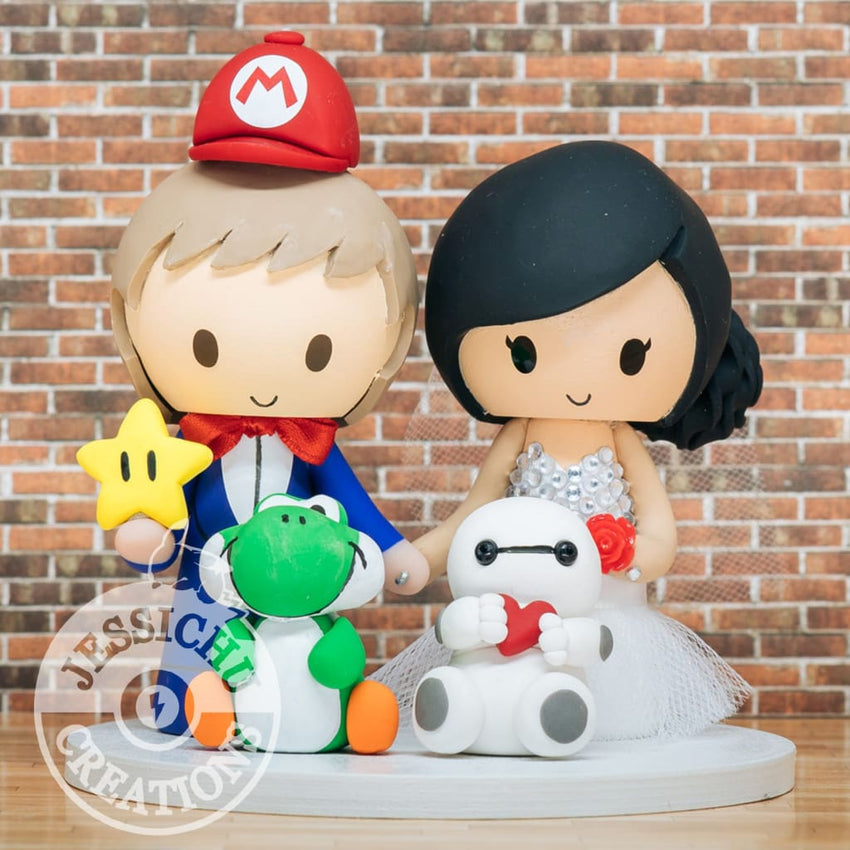 Mario Groom & Bride with Baymax & Yoshi Wedding Cake Topper | Nintendo x Disney | Jessichu Creations