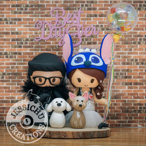 Jon Snow Groom & Stitch Nurse with Up Balloons & Pet Dogs Inspired Wedding Cake Topper | Disney x Pixar x Game of Thrones GOT | Jessichu Creations