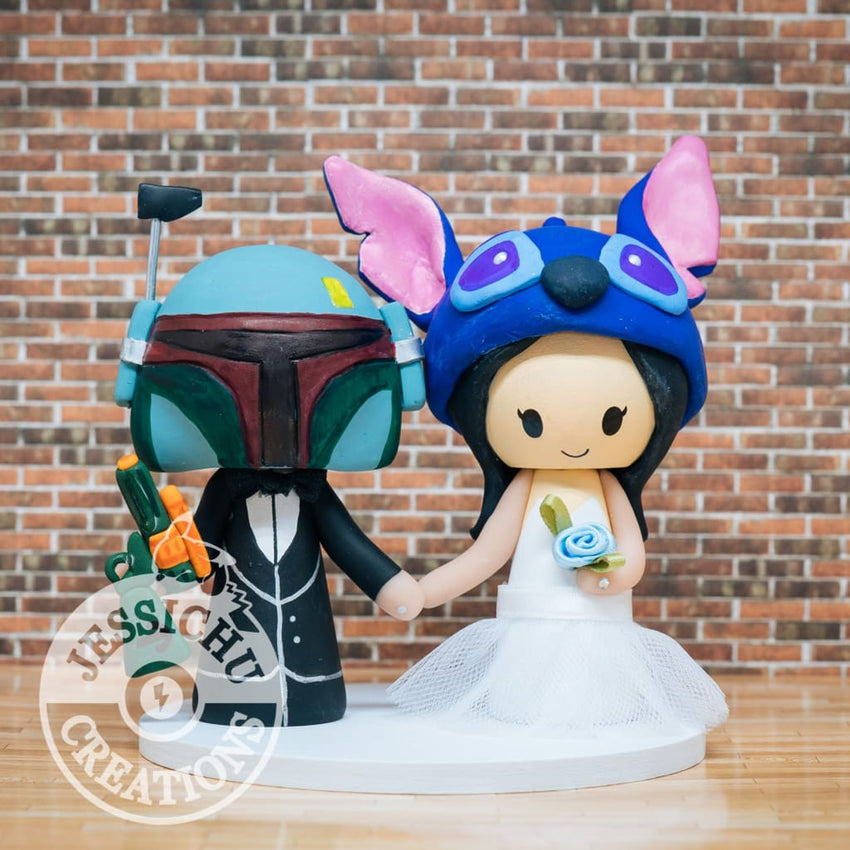 Boba Fett and Stitch Wedding Cake Topper | Star Wars x Disney | Jessichu Creations