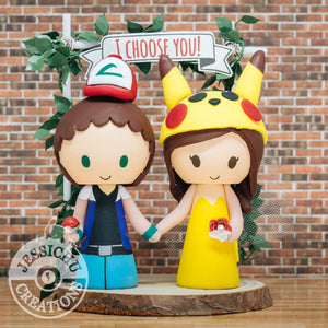 Ash Ketchum & Pikachu Wedding Cake Topper | Pokemon | Jessichu Creations
