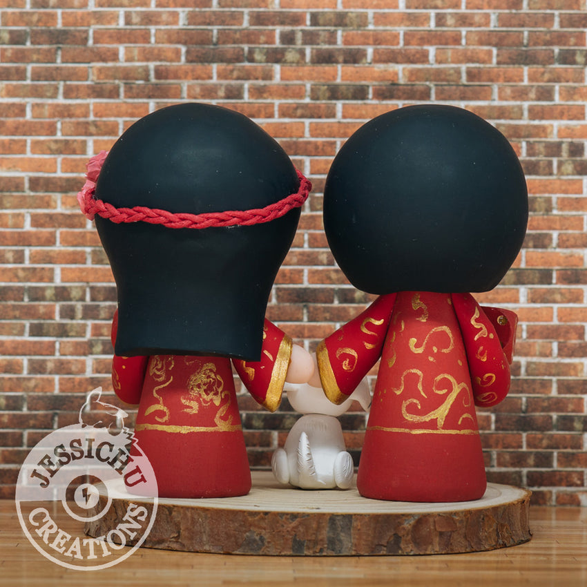 Traditional Chinese Qipao Bride & Changshan Groom Custom Handmade Wedding Cake Topper | Wedding Cake Toppers | Cake Topper Gallery | Jessichu Creations