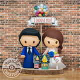 Bride & Groom with Up House Balloons & Mailbox | Disney x Pixar | Custom Handmade Wedding Cake Topper Figurines | Jessichu Creations