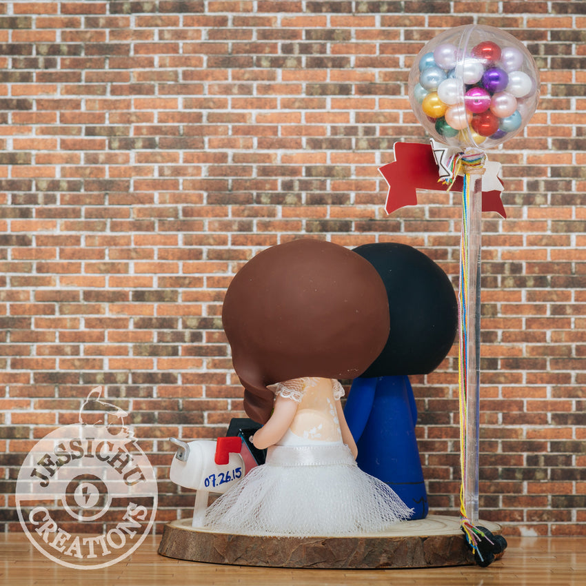 Bride & Groom with Up Balloons & House Disney x Pixar Inspired Custom Handmade Wedding Cake Topper Figurines | Wedding Cake Toppers | Cake Topper Gallery | Jessichu Creations