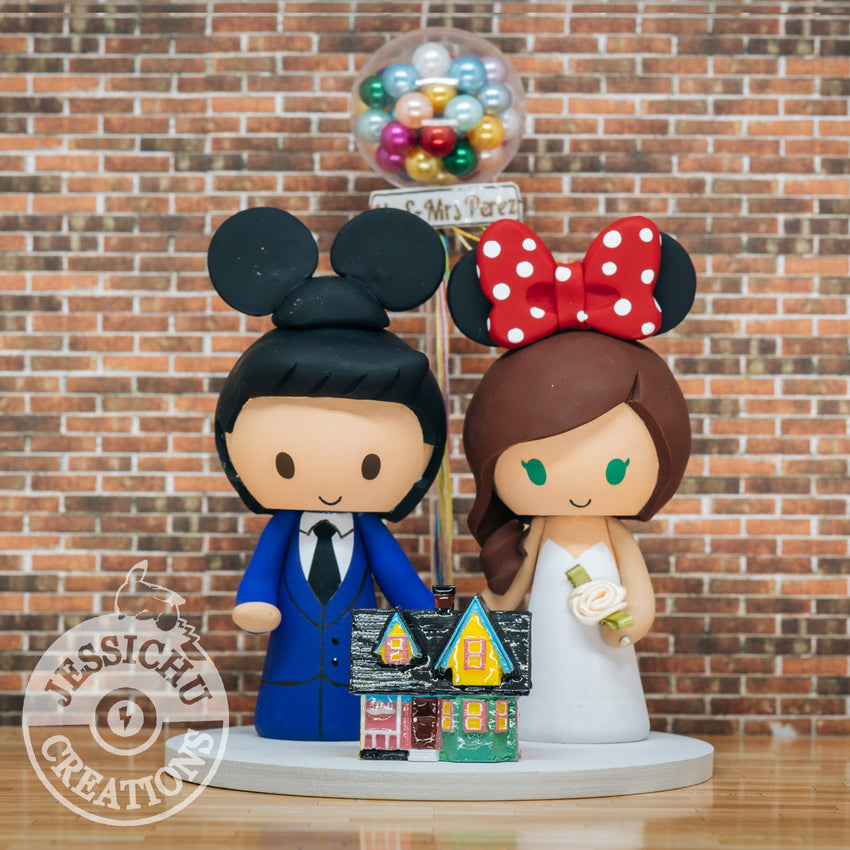 Mickey & Minnie with Up Balloons & House | Disney x Pixar | Custom Handmade Wedding Cake Topper Figurines | Jessichu Creations