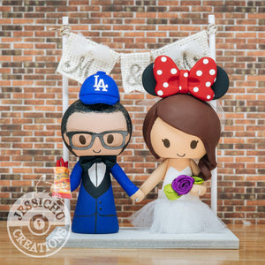 LA Angels Groom & Minnie Mouse Bride Wedding Cake Topper | Sports x Baseball x Disney | Jessichu Creations