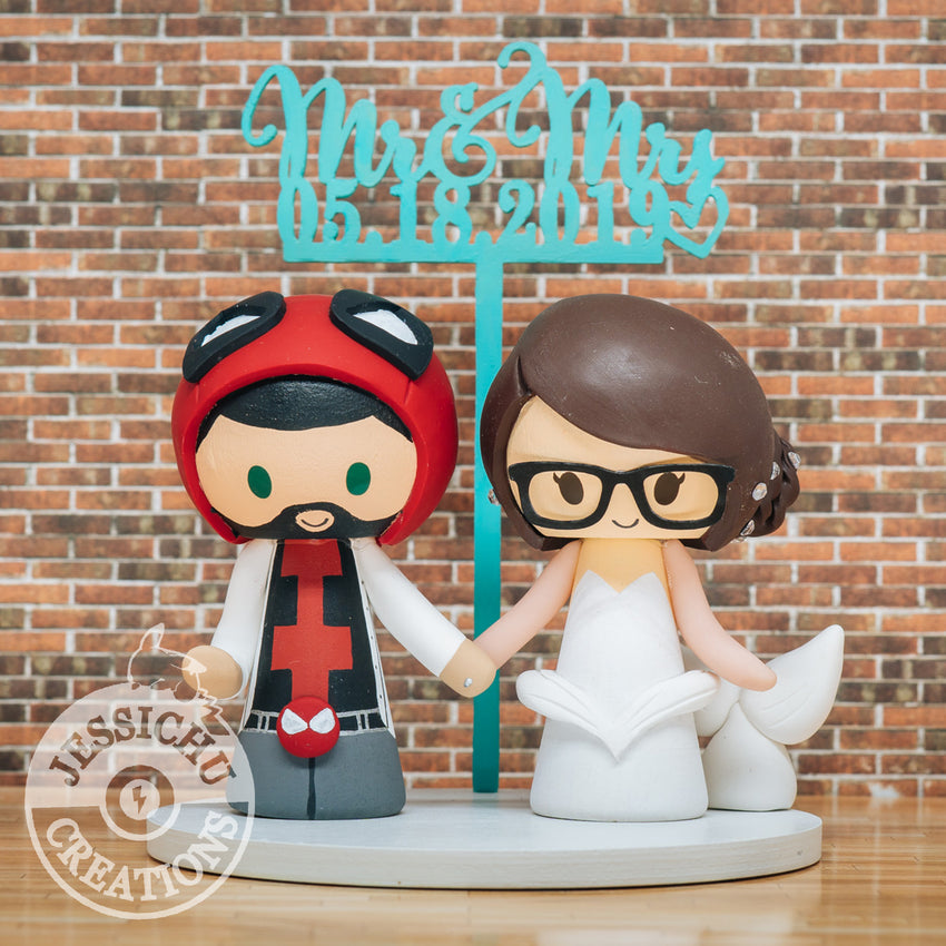Deadpool and Mermaid Wedding Cake Topper | Marvel X-Men x Disney | Jessichu Creations