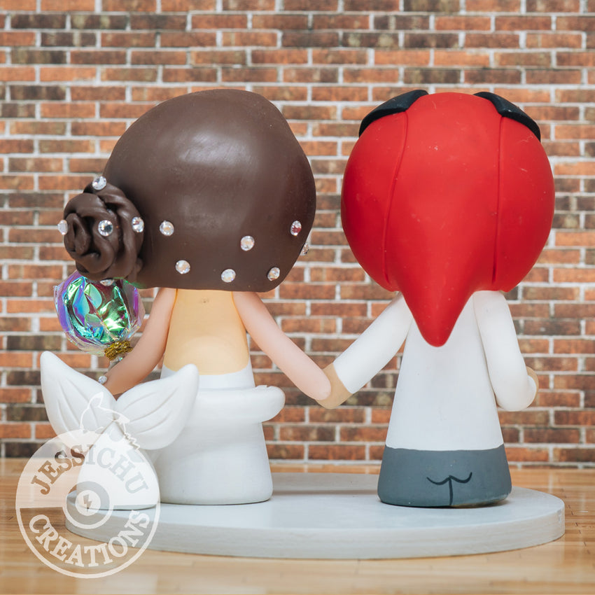 Deadpool Groom & Mermaid Bride - Marvel X-Men x Disney Inspired Custom Handmade Wedding Cake Topper | Wedding Cake Toppers | Cake Topper Gallery | Jessichu Creations