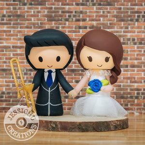 Musician Trombone Player & Pretty Bride Wedding Cake Topper | Music | Jessichu Creations