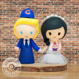 Chicago Cubs Groom & Cupcake Baker Bride Wedding Cake Topper | Sports x Baseball | Jessichu Creations