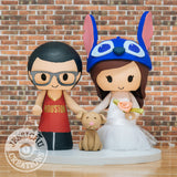 Houston Rocket Groom & Stitch Bride Inspired Wedding Cake Topper | Sport x Lilo & Stitch x Disney | Jessichu Creations