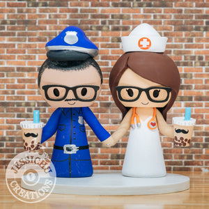 Police Officer & Nurse with Boba Drink Custom Wedding Cake Topper | Jessichu Creations