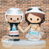 Bike Racer Bride & Groom Wedding Cake Topper | Bicycle Racing | Jessichu Creations