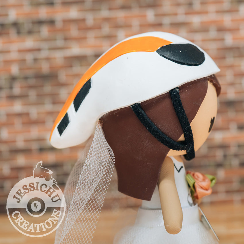 Bike Racer Bride & Groom - Custom Handmade Wedding Cake Topper | Wedding Cake Toppers | Cake Topper Gallery | Jessichu Creations