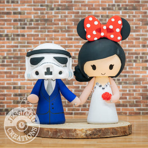 Stormtrooper Groom and Minnie Mouse Bride Wedding Cake Topper | Star Wars x Disney | Jessichu Creations