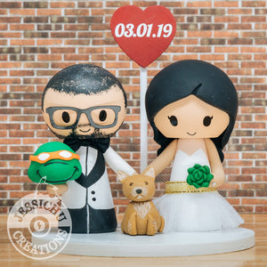 Michelangelo Ninja Turtles and Pretty Bride Wedding Cake Topper | TMNT | Jessichu Creations