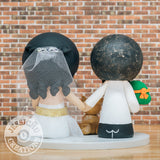 Michelangelo Ninja Turtles Groom & Pretty Bride - TMNT Inspired Wedding Cake Topper | Wedding Cake Toppers | Cake Topper Gallery | Jessichu Creations