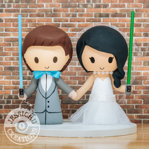 Cute Couple holding Lightsabers Custom handmade Wedding Cake Topper | Star Wars | Jessichu Creations