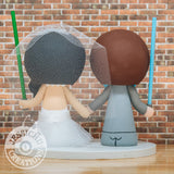 Cute Couple holding Lightsabers - Star Wars Inspired Wedding Cake Topper | Wedding Cake Toppers | Cake Topper Gallery | Jessichu Creations