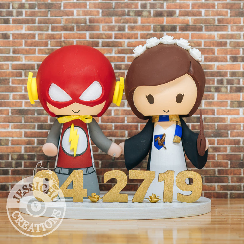 The Flash and Harry Potter Ravenclaw Wedding Cake Topper | DC x HP | Jessichu Creations