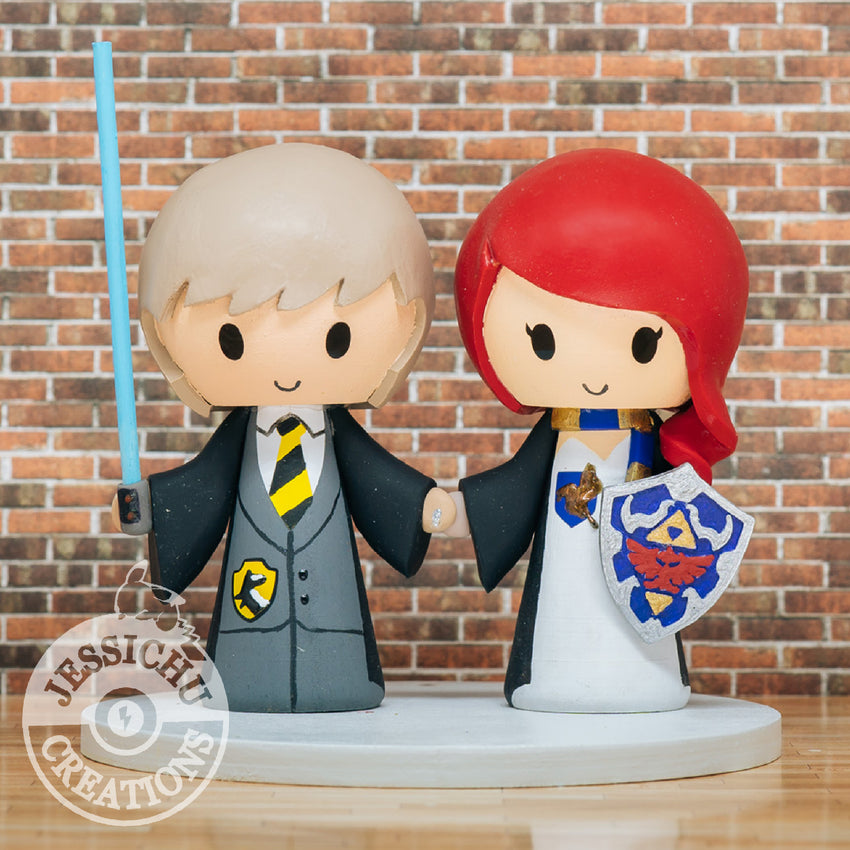 Harry Potter Inspired Hufflepuff & Ravenclaw Couple Wedding Cake Topper | HP x Star Wars x Zelda x Dragon Ball Z | Jessichu Creations