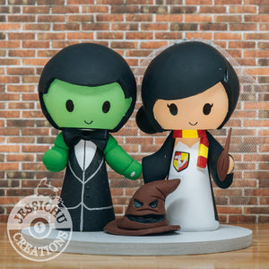 Hulk & Gryffindor with Sorting Hat Custom Handmade Figurine Wedding Cake Topper | Marvel x HP | Jessichu Creations