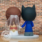 Batman & Gal Gadot Wonder Woman Custom Handmade Figurine Wedding Cake Topper | DC Comics | Jessichu Creations