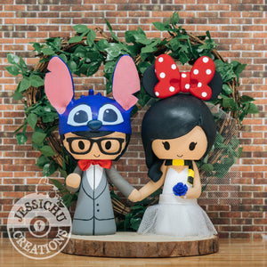 Stitch Groom & Minnie Mouse Hufflepuff Bride - Disney x Pixar x HP Inspired Wedding Cake Topper | Wedding Cake Toppers | Cake Topper Gallery | Jessichu Creations