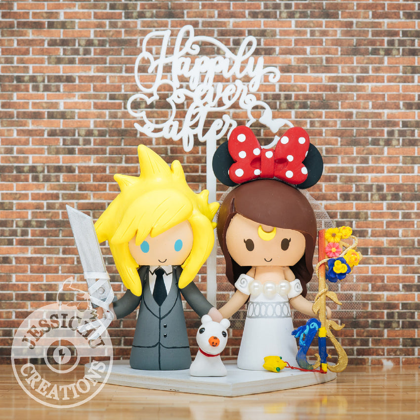 Cloud & Princess Serenity with Zero Custom Handmade Figurine Wedding Cake Topper | Disney x Final Fantasy VII x Kingdom Hearts x Sailor Moon | Jessichu Creations