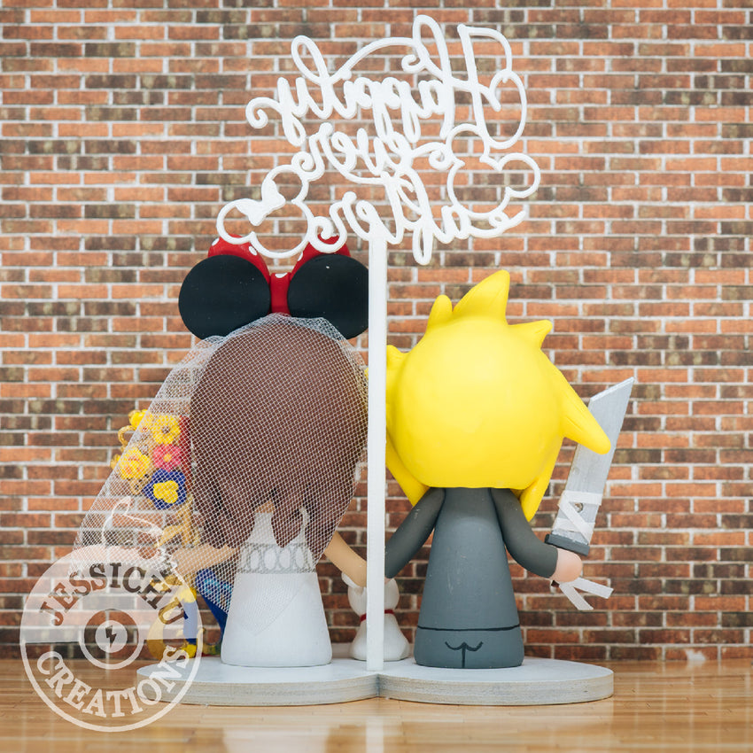 Cloud Groom & Princess Serenity Bride - FFVII x Sailor Moon x Disney Inspired Wedding Cake Topper | Wedding Cake Toppers | Cake Topper Gallery | Jessichu Creations