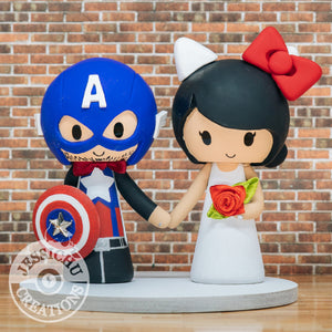 Captain America Groom & Hello Kitty Custom Wedding Cake Topper | Marvel x Sanrio | Jessichu Creations