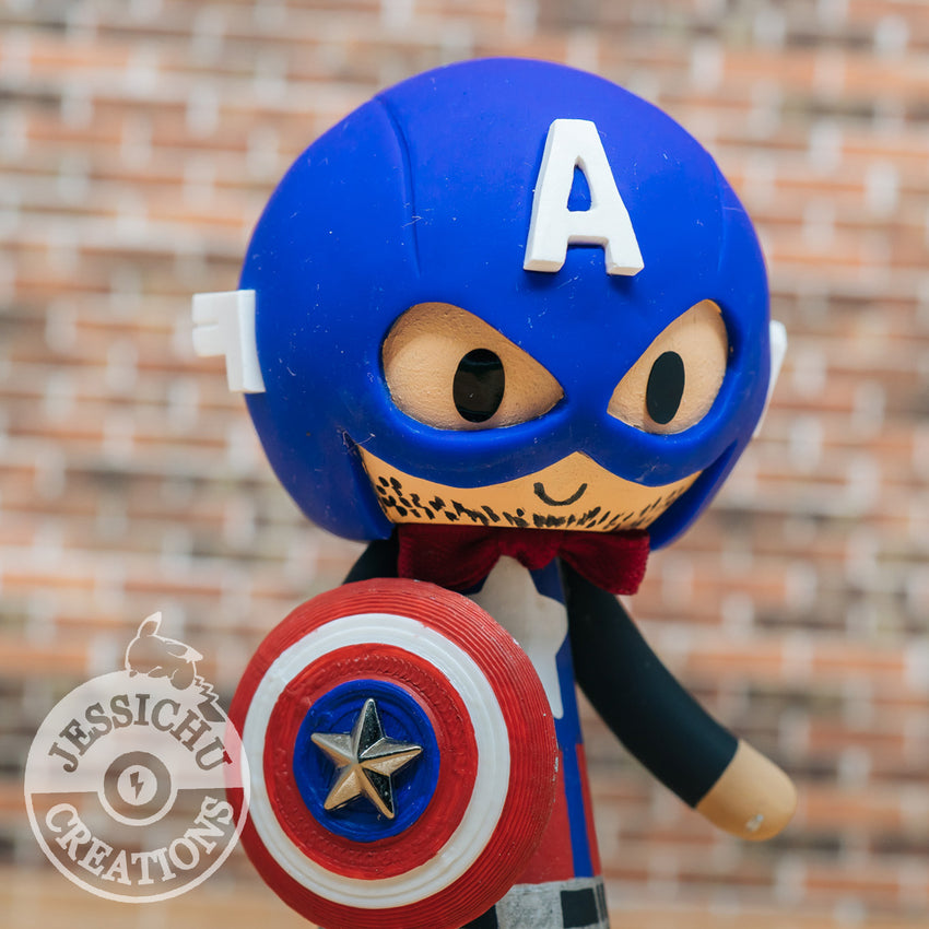 Captain America Groom & Hello Kitty Bride - Marvel Inspired Custom Made Figurine Wedding Cake Topper | Wedding Cake Toppers | Cake Topper Gallery | Jessichu Creations