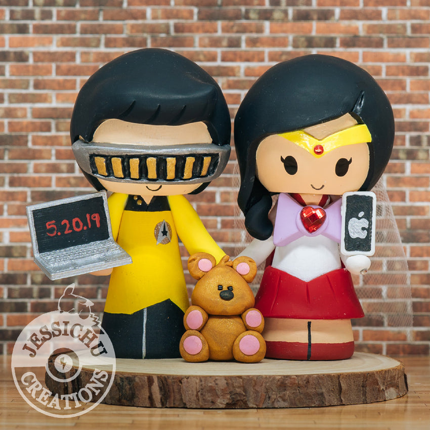 Geordi La Forge & Sailor Mars with Pooky Bear Custom Handmade Figurine Wedding Cake Topper | Star Trek x Sailor Moon x Garfield | Jessichu Creations