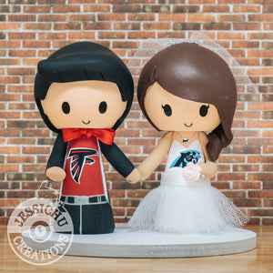 Atlanta Falcons & Carolina Panthers Sports Fan NFL Football Custom Handmade Figurine Wedding Cake Topper | Jessichu Creations