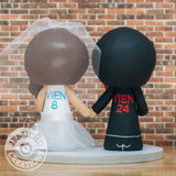 Atlanta Falcons Groom & Carolina Panthers Bride - Sports x NFL x Football Inspired Wedding Cake Topper | Wedding Cake Toppers | Cake Topper Gallery | Jessichu Creations