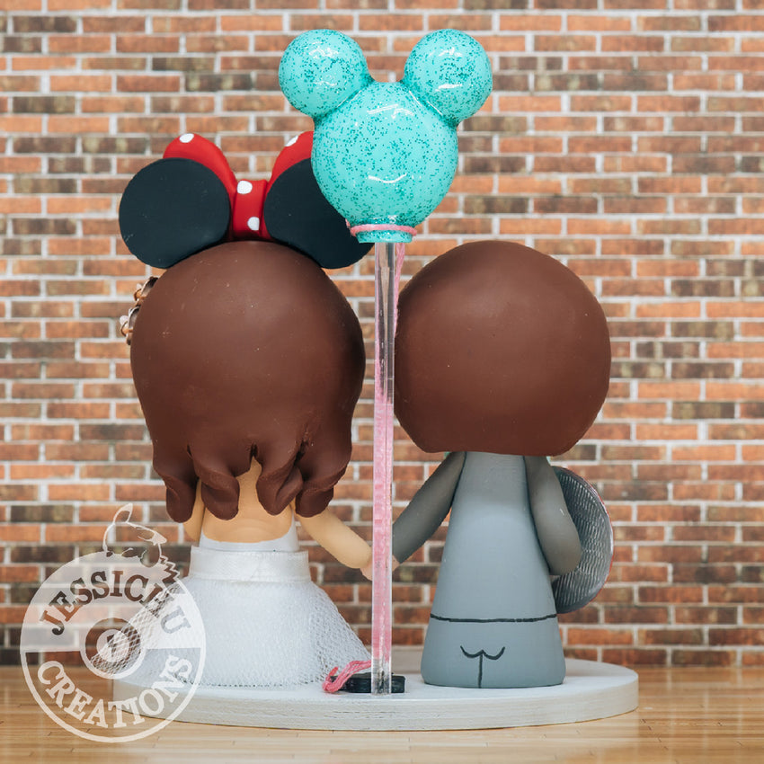 Captain America Groom & Minnie Mouse Bride - Marvel x Disney Inspired Custom Made Figurine Wedding Cake Topper | Wedding Cake Toppers | Cake Topper Gallery | Jessichu Creations