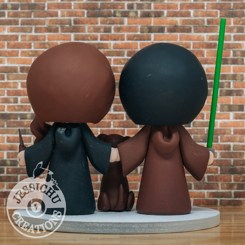 Jedi Groom & Harry Potter Ravenclaw Bride - Star Wars x HP Inspired Custom Wedding Cake Topper | Wedding Cake Toppers | Cake Topper Gallery | Jessichu Creations