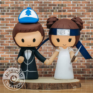 Dipper Pines & Tenten Custom handmade Figurine Wedding Cake Topper | Gravity Falls x Naruto | Jessichu Creations