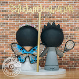 Tennis Player & Butterfly | Custom Handmade Wedding Cake Topper Figurines | Jessichu Creations