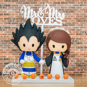Vegeta and Harry Potter Wedding Cake Topper | Dragon Ball Z x HP | Jessichu Creations