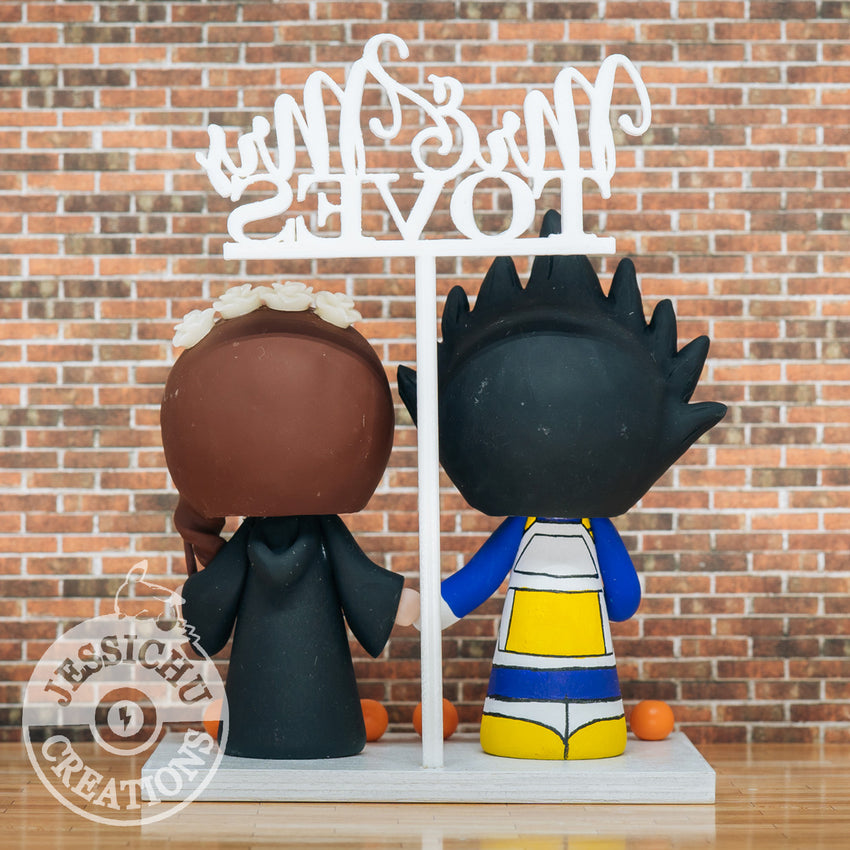 Vegeta Groom & Harry Potter Ravenclaw Bride - Dragon Ball Z x HP Inspired Wedding Cake Topper | Wedding Cake Toppers | Cake Topper Gallery | Jessichu Creations