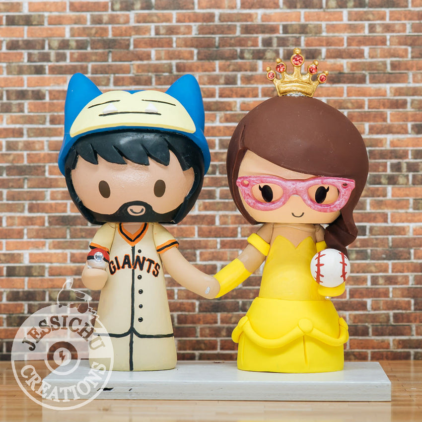 Snorlax Baseball & Belle Wedding Cake Topper | Pokemon x Disney x Toothless | Jessichu Creations